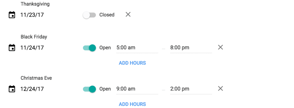 Google My Business Holiday Hours