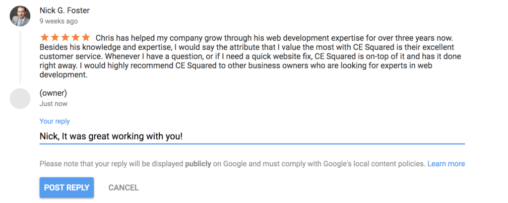 Replying to a Google Review