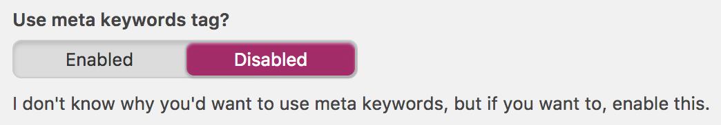 yoast keyword meta tag option