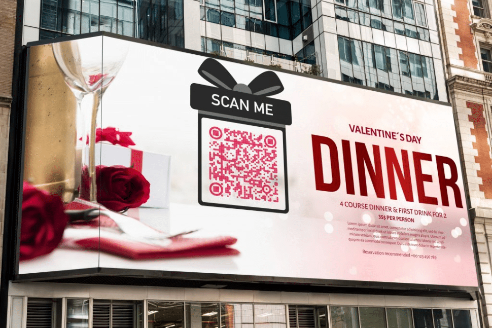 QR Code on a billboard for a special valentines day coupon