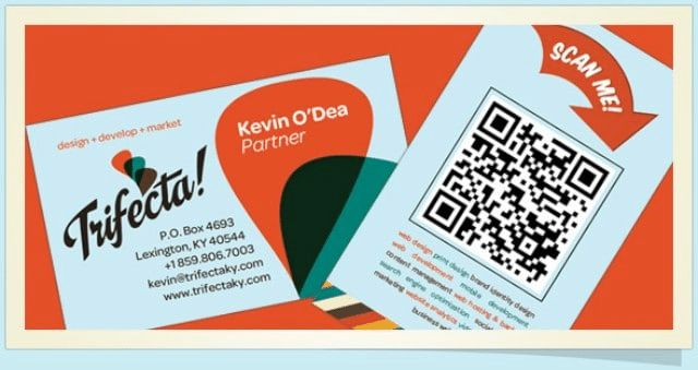 QR code on a business card with a scan me arrow